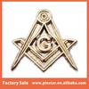 Mini freemason compass pins badge cuff links sanblasting gold plated custom masonic lapel pin