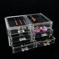 de lujo de acrílico transparente organizador de cosméticos de maquillaje caja 6 cajones