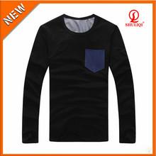 Blank pocket t shirt wholesale 95% cotton 5% elastane factory price