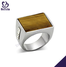 High end fashion wooden design stainless steel square ring