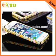 Fancy Rhinestone Diamond Bling cell phone case aluminum bumper case for iphone 5