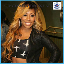 Blonde side bangs full lace wig 130% density ombre t color lace wig human hair loose wavy hot carnival wigs