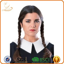 Factory wholesale two braid india ladies synthetic celebrity wigs