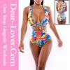 nude sexy Neon Tropics Wrap Swimsuit lingerie