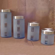 double wall glass cannisters custom blue tea coffee sugar canisters sets
