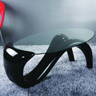 modern animal design high gloss oval resin glass coffee table