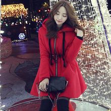 W27042 red european thicken long pattern winter cotton-padded coat draw string down jacket