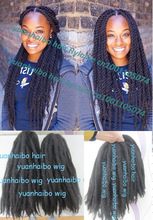 """Stock! cheap price 20"""" folded black color kanekalon synthetic afro kinky twist marley braid hair extensions"""