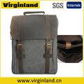 2014 novo estilo vintage cinza escuro canvas couro patchwork bolsa de negócios homens com compartimento acolchoado do portátil mochila
