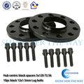 Alumínio preto 12 mm hub centric espaçadores