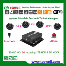 Teswell TS-610 4ch sd card mobile dvr, live real-time control, google map.3g mobile dvr