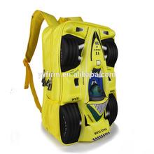 BP490160 Latest Boys Backpack 3D Formular Car School Bag Yellow Color Hot Sale