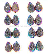 European style Rainbow Teardrop Style Calibrated Druse Cabochon Chakra Druzy Beads