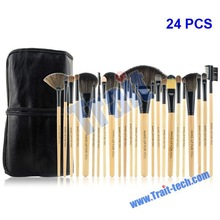 Wholesale Price 24 Pcs Make Up Brush Set Cosmetic + PU Leather Pouch