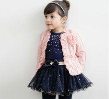 D35893A 2014 korea autumn new fashion kids girls coat+t-shirt+dress 3pcs set