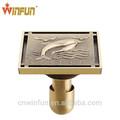 Cuarto de baño de ducha de latón anti- olor a desagüe en el suelo acabado en bronce antiguo de moda diseño de delfines