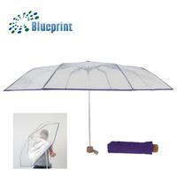 Eco-friendly Recycling Fashion Lady 3 Folding Transparent POE Umbrella