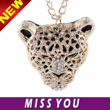 wholesale china jewelry leopard head pendant necklace with crystal