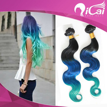 Three ombre color human hair weft,ombre remy hair weaving