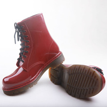 Fashion Ladie's lace up jelly cool men's rain boots