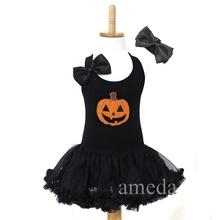 Halloween Girls Orange Pumpkin Black Tutu Pettiskirt Party Dress Costume and Headband
