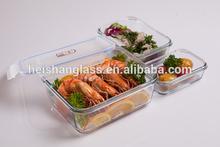 European quality rectangular three suit hot sale glass ceramic food storage container