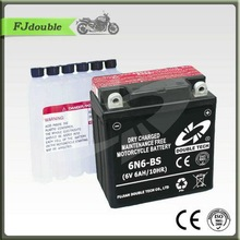 Best motorcycle battery brand DOUBLE TECH 6V 6AH dry charged battery 6N6-BS