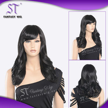 body wave synthetic black 20'' long wigs with bangs for fashion model or manikin or fashion store