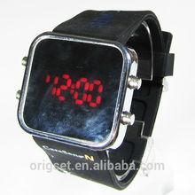 mirror LED flashing watch custom logo printed silicone LED watch
