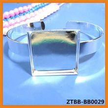 25*25mm square Bracelet Setting,Cuff,Adjustable,Silver Plated,bracelet bezel,jewelry bezel,bracelet women cabochon ZTBB-BB0029