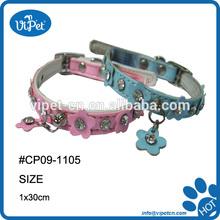 jewel flower leather cat collar
