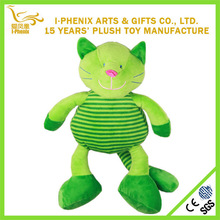 10' baby toys animated green stripe plush cat lovely cheap custom plush Japanese cat