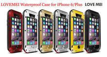Popular Metal LOVE MEI Aluminum Waterproof Case For iPhone 6 iPhone6, LOVEMEI Metal Shockproof Case for iPhone 6 Plus