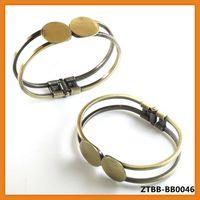 2014 Classical Openable antique bronze Bezel Bracelet blank with double 18mm pad,fit 18mm glass cabochon,bezel blank,ZTBB-BB0046