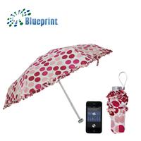 Full Dot And Lace Edge Design Cute Lady Favor Easy Carry 5 Folding Umbrella