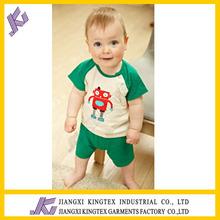 cute baby boys cartoon design short sleeve set,the robot printing t shirt set,100%cotton kids summer set
