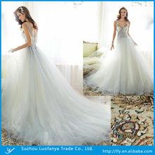 Latest design 2014 high fashion v-neck low cut back with lace appliqued organza wedding dress
