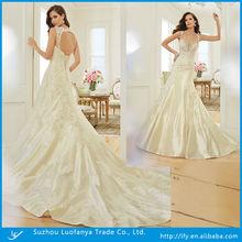 2014 high fashion sexy v-neck low cut back with lace appliqued taffeta a-line wedding dress