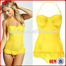 Wholesale ruffle trim padded women one piece swimsuit with sexy bra