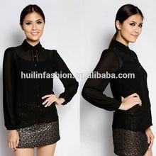2015 recién llegado de elegantes de los modelos blusas manga larga blusa para mujer