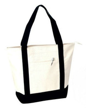 Canvas shopping tote bag with zipper closure