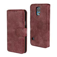 For Samsung Galaxy S5 Retro Matte Flip Wallet PU Leather Phone Case
