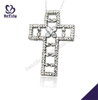 Dignified step design silver leather cord cross necklace