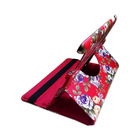 Hot Selling Purple Flowers Cover Red Rotating Stand PU T
