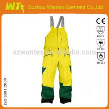 Hombres de lado del babero de esquí amarillo / azul marino pantalones