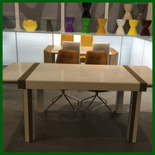 high gloss MDF wood white stretching dining tables