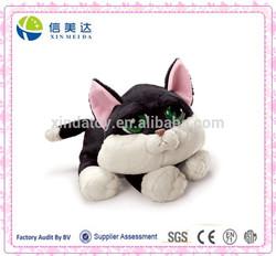 Lovely Design Custom Plush Green Big Eyes Black and White Cat Toy