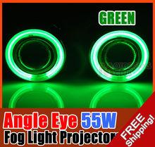 Pair 55W green Halogen Fog Light Projectors + CCFL Halo Angel Eye [GREEN]