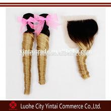 """1 Piece Lace Top Closure with 2Pcs Hair Bundle,3pcs/lot,Brazilian Ombre Virgin Hair Extension,Loose Wave 12""""-28"""" bleached knots"""