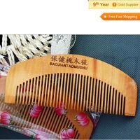 FASHION Small Natural Health Anti-static Comb Peach Wooden Comb